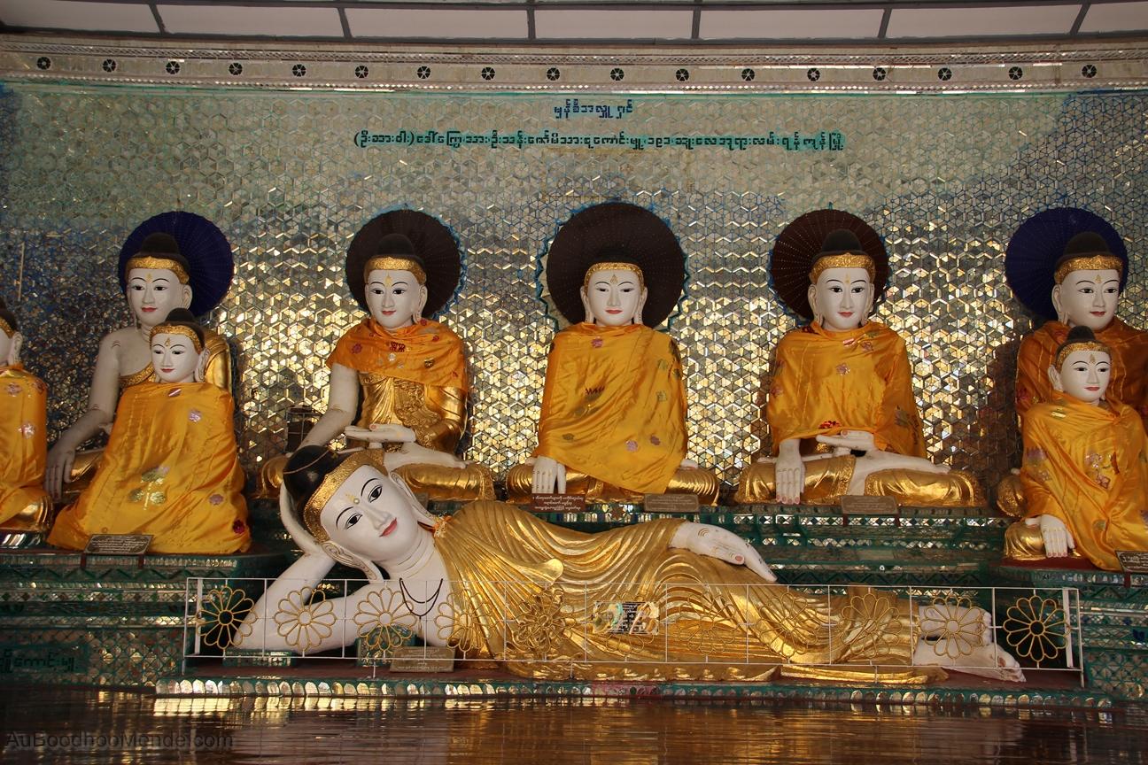 Myanmar - Shwedagon - Bouddah couche